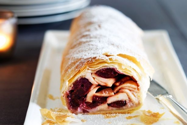 Nothing tops a festive feast like a homemade strudel - try this elegant version with apple and cherries.