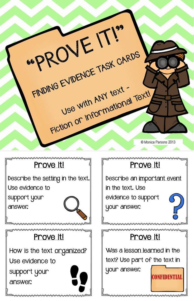 """""""Prove It!"""" - finding evidence task cards - a great way for students to consult the text & prove their answers"""