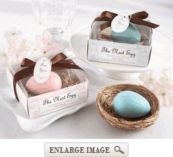 "Party Favors! It's a super cute egg shaped soap inside of a nest holder. Great idea to go with our ""nesting theme"""