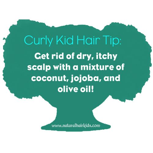 Curly Kid Hair Tip #1: Get rid of dry, itchy scalp with a mixture of coconut, jojoba, and olive oil! naturalhairkids.com | natural hair | natural hair care for kids