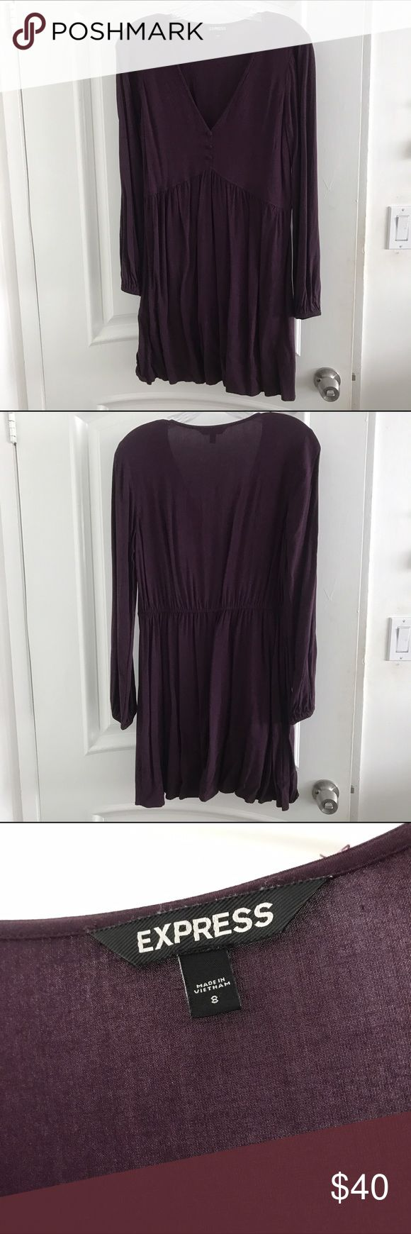 Deep Purple Long Sleeve V Neck Dress Flatter deep purple/plum V neck dress from Express. It's on the shorter side if you are tall. Only worn a few times. Empire waisted band stretches to fit more sizes. Looks adorable with tights and booties in the winter or sandals and strapy heels in the summer. Express Dresses Mini
