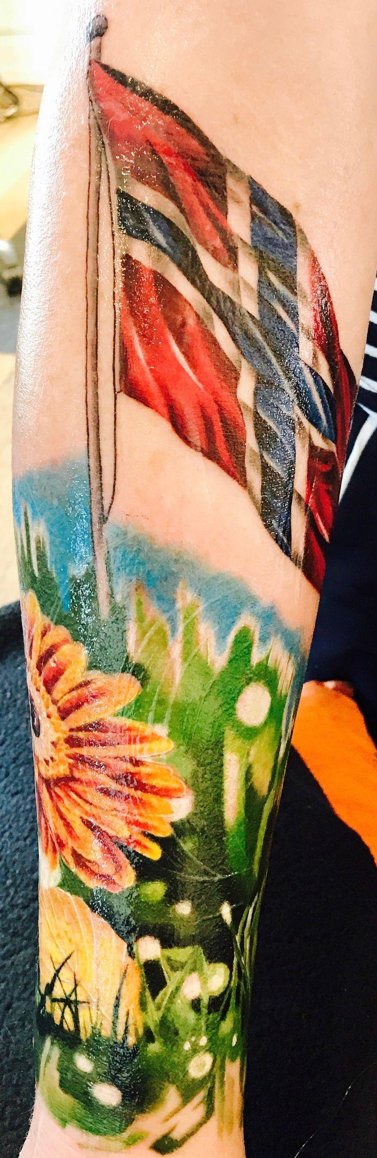 Watercolor Tattoo Norwegian Flag and Gerbera flower