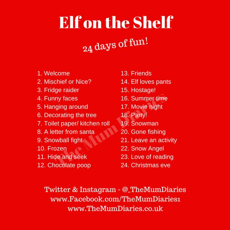 24 different activites for Elf on the Shelf!