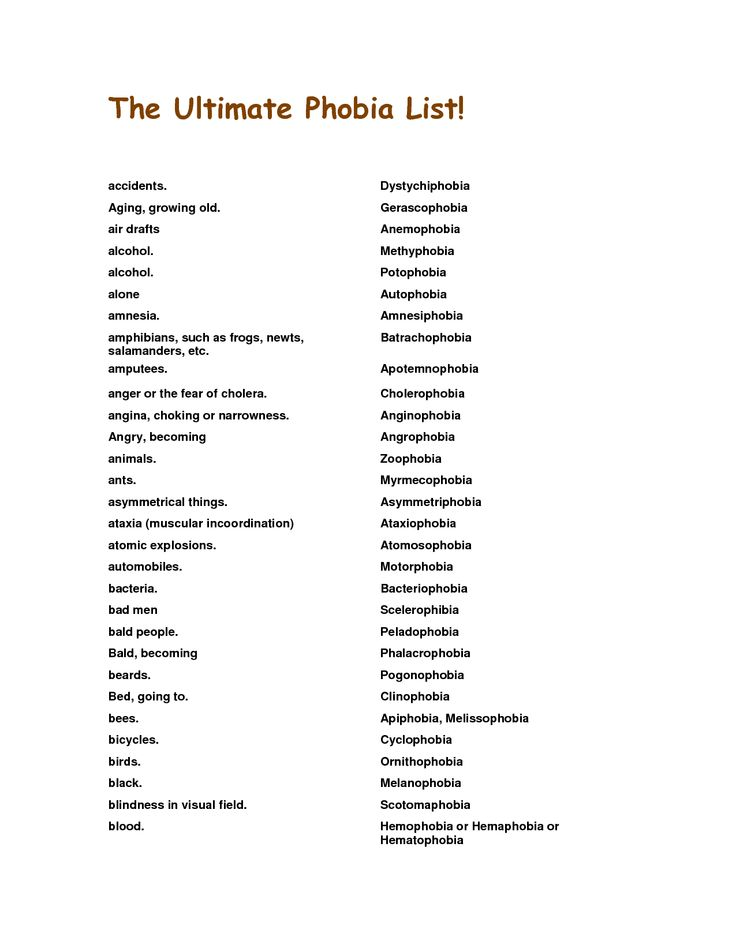 three main kinds of phobia Writing about characters with phobias what is a phobia most phobias are classified into three categories there are four major types of specific phobias: the natural environment, animals, medical, situational.