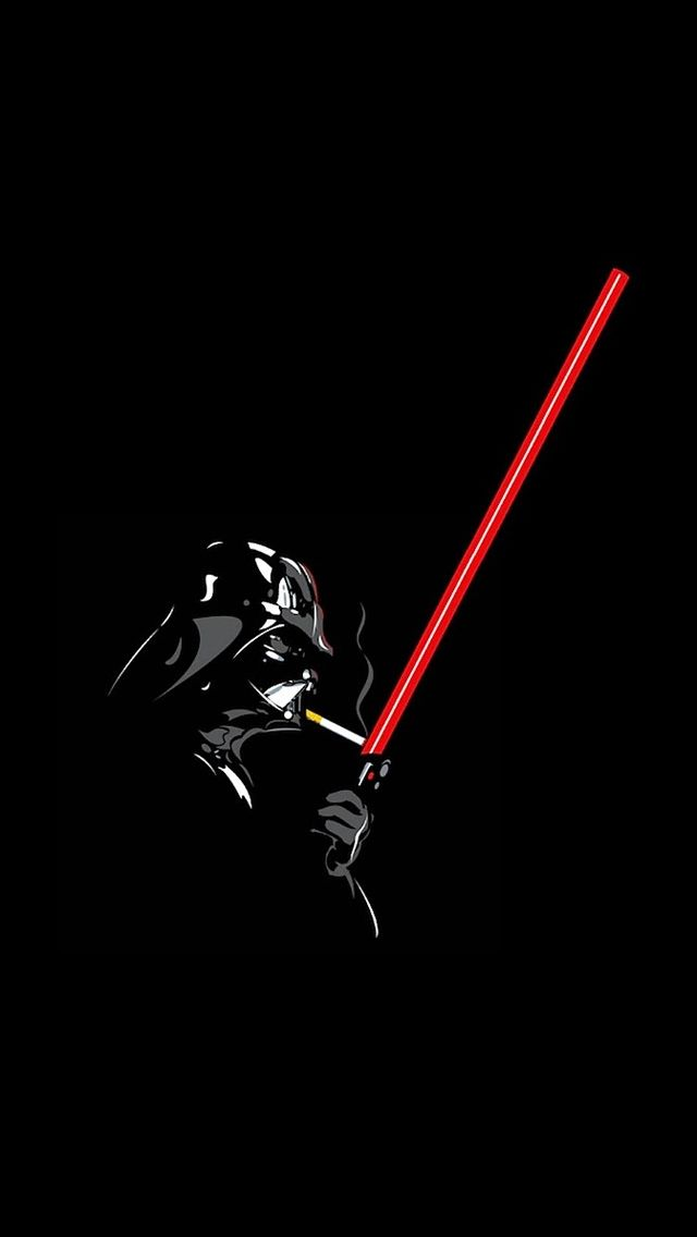 Darth Vader lighting up a Cig on a Lightsaber, Star Wars Poster, illustration.