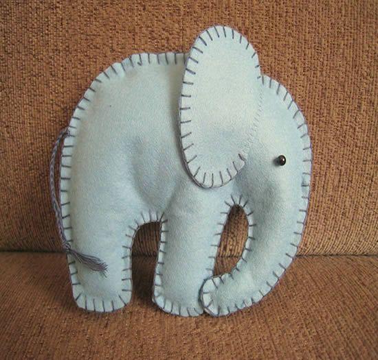 Como fazer elefante de feltro com moldes | Como fazer em casa Artesanato