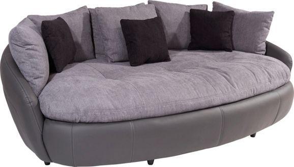 Mega kanapé, szürke szövet és fekete textilbőr kombinációban, 6 nagy és 3 kispárnával, Szé/Ma/Mé: kb. 238/80/140cm