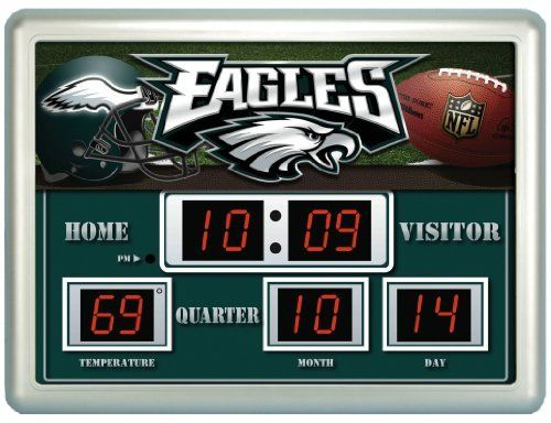 NFL Philadelphia Eagles 14x19 Inch ScoreBoard-Clock-Thermometer by Team Sports America. $79.99. The Scoreboards and their up to date logos and designs are a unique addition for the home, office or patio. Made of plastic, glass, and circuitry. Our weather resistant Scoreboard shows the time, date and temperature. Always know the score with our exclusive, licensed Outdoor Scoreboard featuring your favorite team. NFL Philadelphia Eagles NG Scoreboard. Save 20% Off!