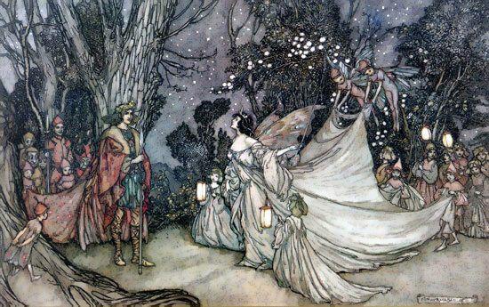 Obéron et Titania  Arthur Rackham  Les Editions du Faune: Le Songe d'une nuit d'été, de W. Shakespeare