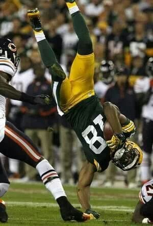 Randall Cobb - it really scares me that he's landing on his arm like that!