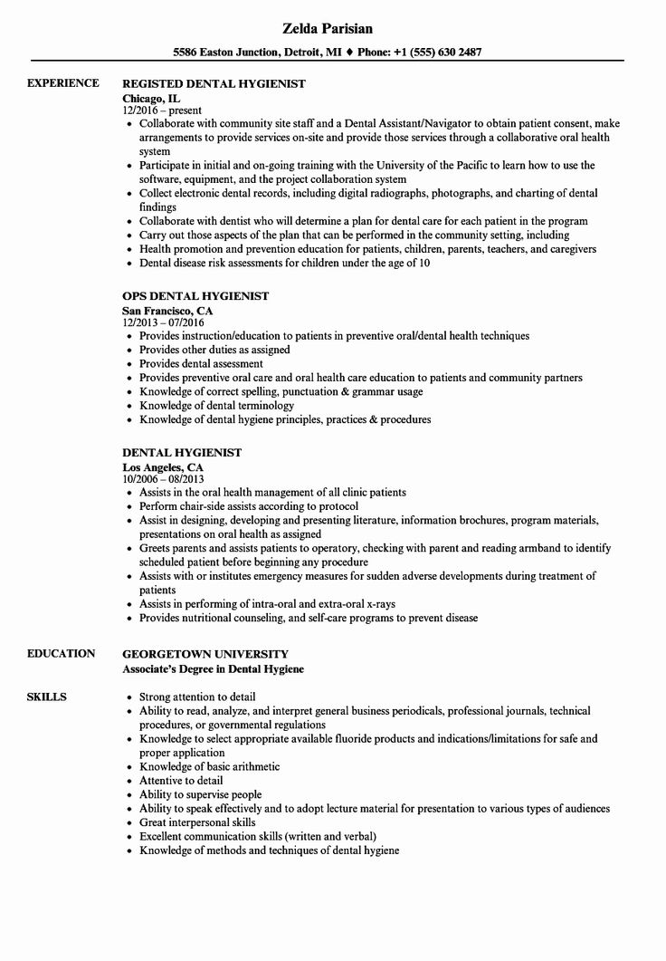 25 Dental Hygiene Resume Template in 2020 (With images