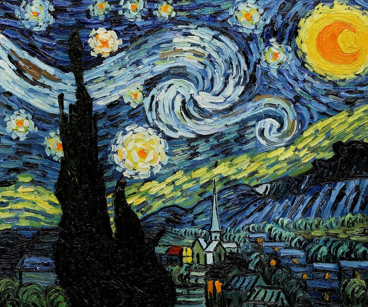 """""""Starry Night,"""" Vincent van Gogh – According to overstockArt.com's statistics, """"Starry Night"""" has consistently been the site's most popular and best-selling oil painting. Hand painted fine art reproductions of Van Gogh's tour-de-force are available in a variety of sizes at overstockArt.com. #giftguide"""