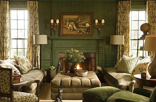 love the green paneling and the feel of this room