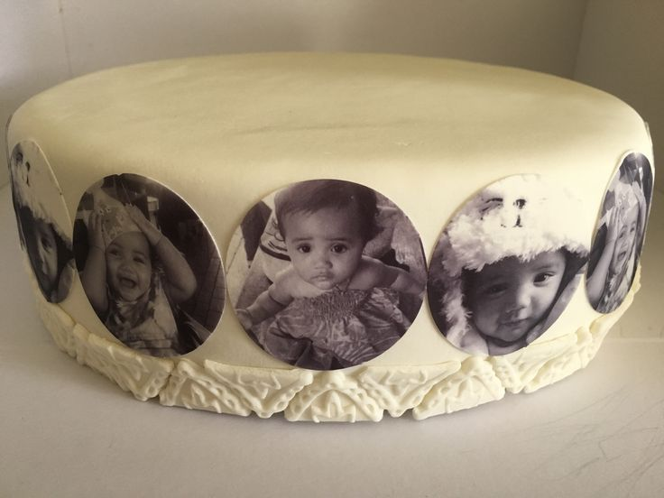 Middle tier of 1st Birthday Cake : Edible Images, Marshmallow Fondant,  Chocolate Mud Cake