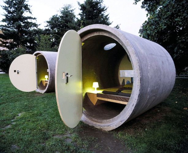 It's a hotel where your room is a former drain pipe. Sleep tight at Das Park Hotel!  #upcycle #repurpose