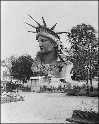 The Statue of Liberty's head at Paris World expo 1876.