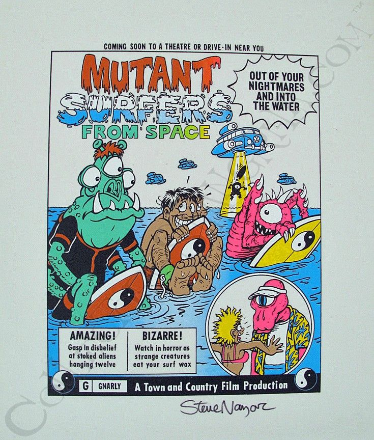 Tc surf designs mutant surfers from space proof print signed by steve nazar