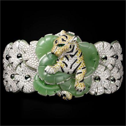Cartier Tiger Bracelet/Brooch, Solar Landscape – Bracelet / Brooch – platinu...