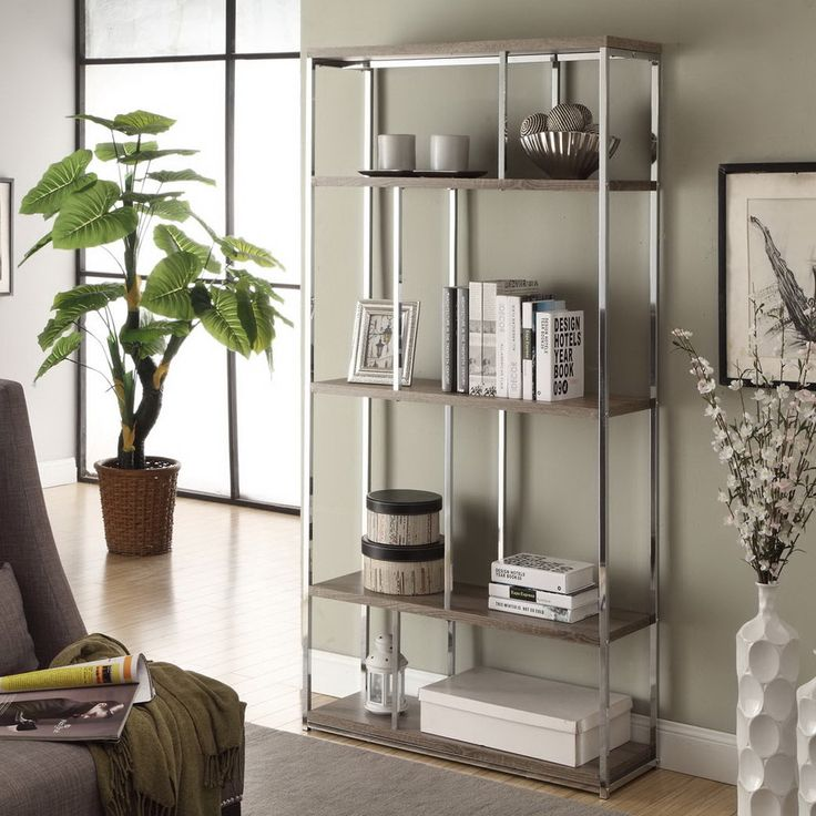 Dark Taupe Reclaimed Look Chrome Metal Bookcase