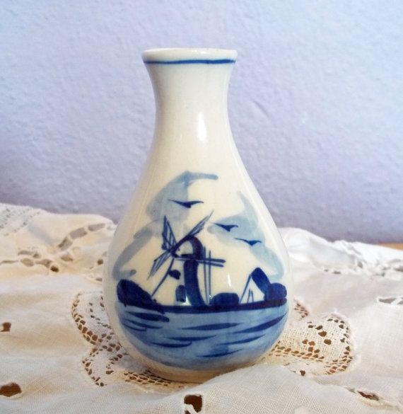 Vintage Delft Hand Painted Blue And White Bud Vase W Windmill Possibly Flora Pottery In