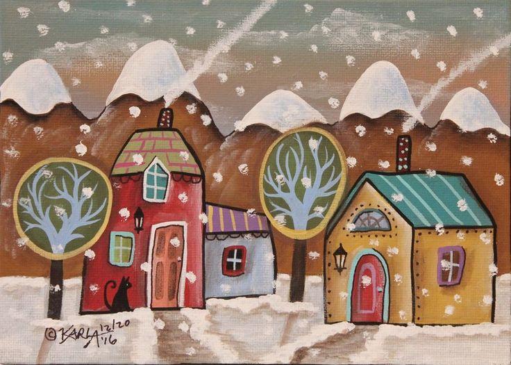 Mountain Winter ORIGINAL Canvas Panel PAINTING Folk Art SNOW 5 x 7 Karla Gerard #FolkArtAbstractPrimitive