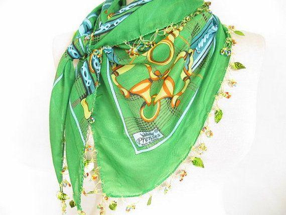 green scarves turkish scarves  Oya Scarf scarf fashion by asuhan, $20.00
