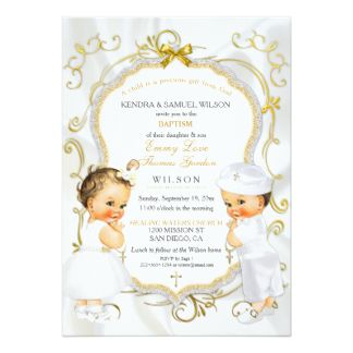 Personalizado Invitaciones • Bautizo ~ Bautismo ~ Nombres día • Boy//girl Twins