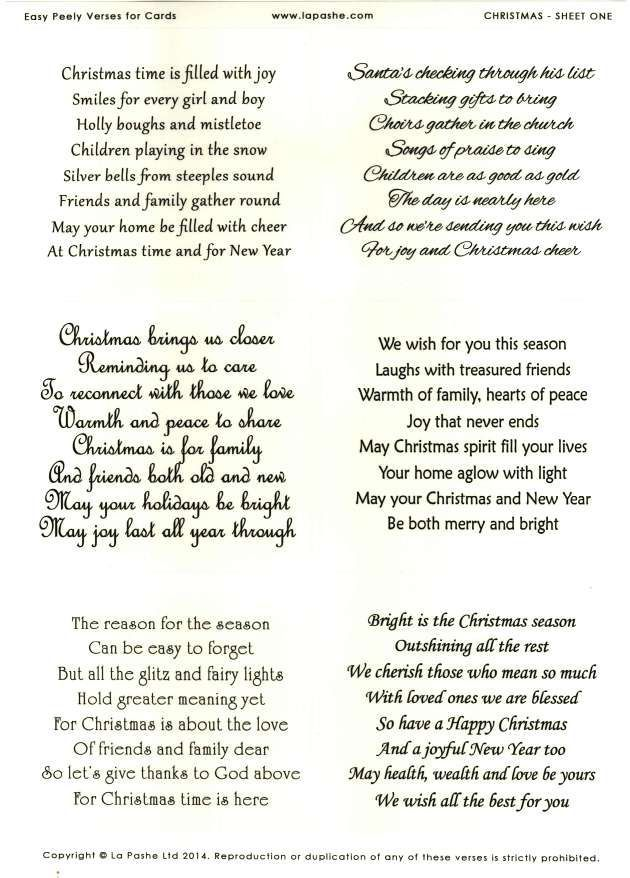 La Pashe Easy Peely Verses for Cards - Christmas #1: