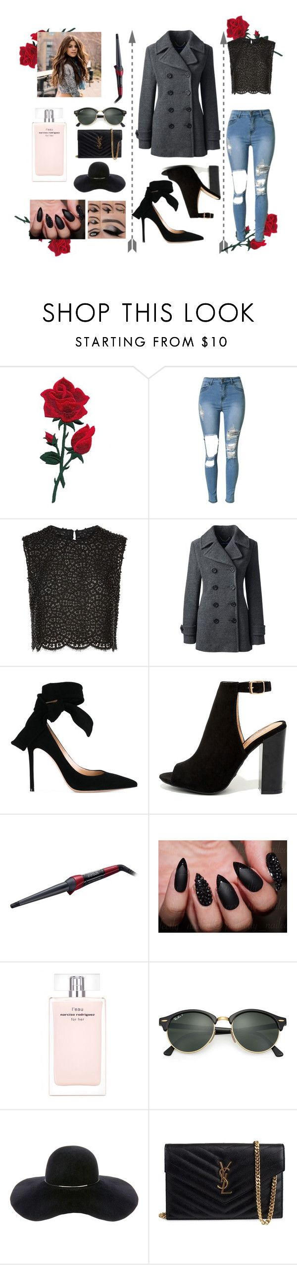 """""""Surprise Date"""" by haileywilkins1 ❤ liked on Polyvore featuring Costarellos, Lands' End, Gianvito Rossi, Bamboo, Remington, Narciso Rodriguez, Ray-Ban, Eugenia Kim and Yves Saint Laurent"""