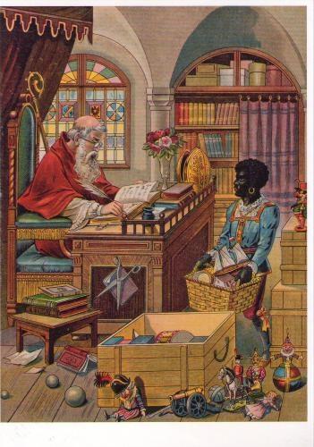 Sinterklaas en zijn Maatjes; Nostalgische Sinterklaas Prent, met zijn Lieve behulpzame Maatje Piet!