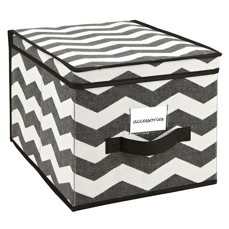 The Macbeth Collection Closet Candie Chevron Collapsible Storage Box - Large, Med Grey