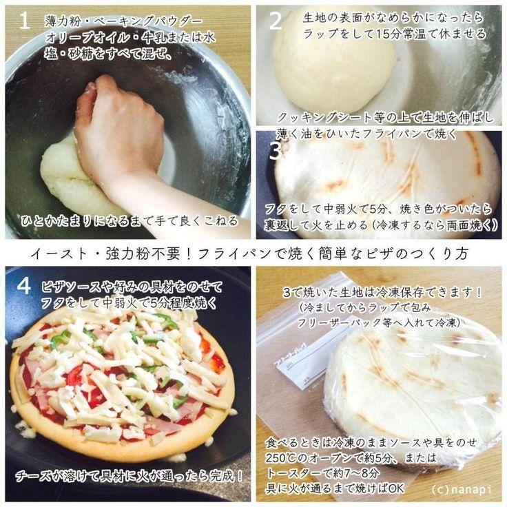【nanapi】 焼きたてのピザが食べたいと思っても強力粉やイーストを使うのは面倒…。そんな時にオススメの、薄力粉を使ってフライパンで焼く、簡単なピザの作り方をご紹介します。材料(18cm位のピザ生地2枚分)【生地の材料】薄力粉・・・150gベーキングパウダー・・・小さじ1オリー...