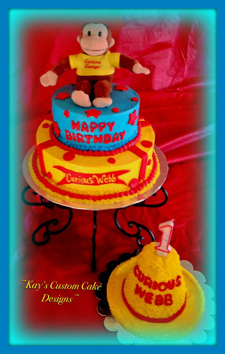 162 best kay 39 s custom cake designs images on pinterest for Curious george cake template