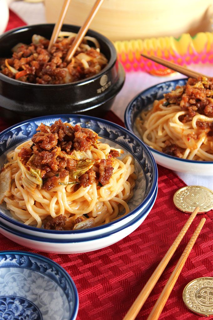 An authentic Chinese recipe with true Sichuan spice, you won't want to miss out on these Dan Dan Noodles. And tips for planning your Chinese New Year party! | @suburbansoapbox @walmart #ad #frozenfromscratch