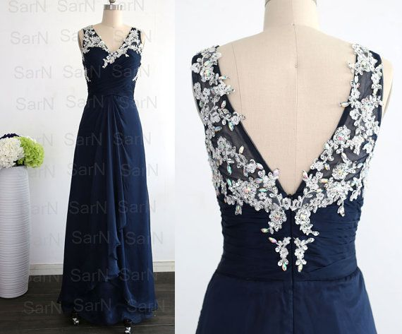 Navy Blue Long Bridesmaid Dresses, Couture Dark Navy