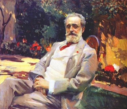 Raimundo de Madrazo in his Paris garden - Joaquin Sorolla