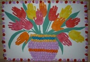 Jednoduché handprint květina řemesla pro děti (1)