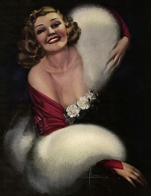 Vintage-1940s-Rolf-Armstrong-Gardenia-Girl-Buxom-Beauty-Pin-Up-Glamour-Print-NR