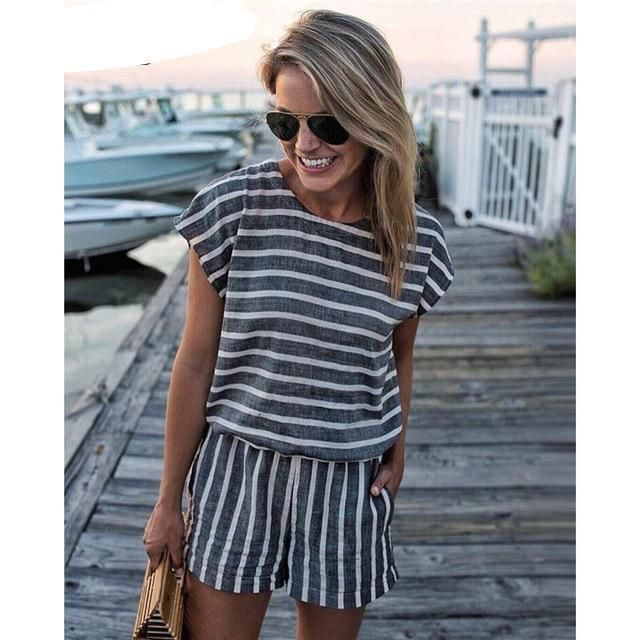Striped Loose Playsuits Bodysuit Summer Casual Beach Rompers Women Jumpsuit Shorts Short Sleeve Elegant Overalls For Women 2018 3