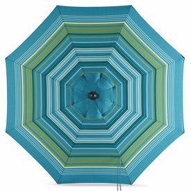allen + roth Teal Green Stripe Market Patio Umbrella (Common: 9-ft W x 9-ft L; Actual: 8.6-ft W x 8.6-ft L)