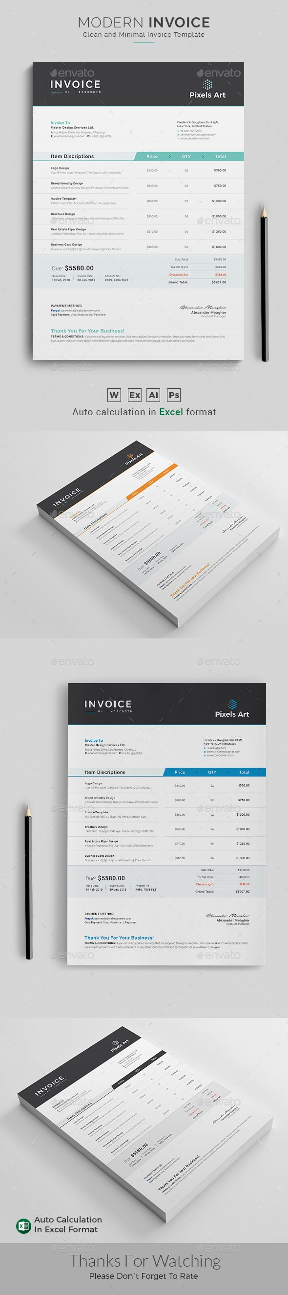 Invoice Template PSD, AI, MS Word, Excel Files