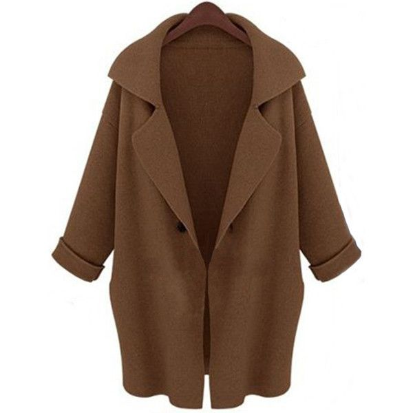 Fashionable Turn Down Collar Long Sleeve Loose Fitting Cardigan For... (€23) ❤ liked on Polyvore featuring tops, cardigans, jackets, coats, coffee, long sleeve tops, loose cardigan, loose tops, brown tops and loose fit tops