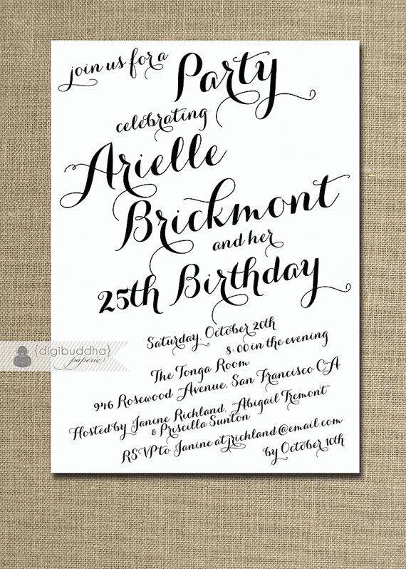 Modern Script Birthday Invitation Calligraphy Party Celebration 21st 25th 30th 40th Handwritten Printable DIY Or Printed