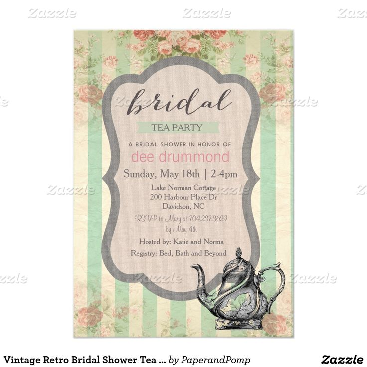 Vintage retro bridal shower tea party invitation soon to for Classic bridal shower invitations