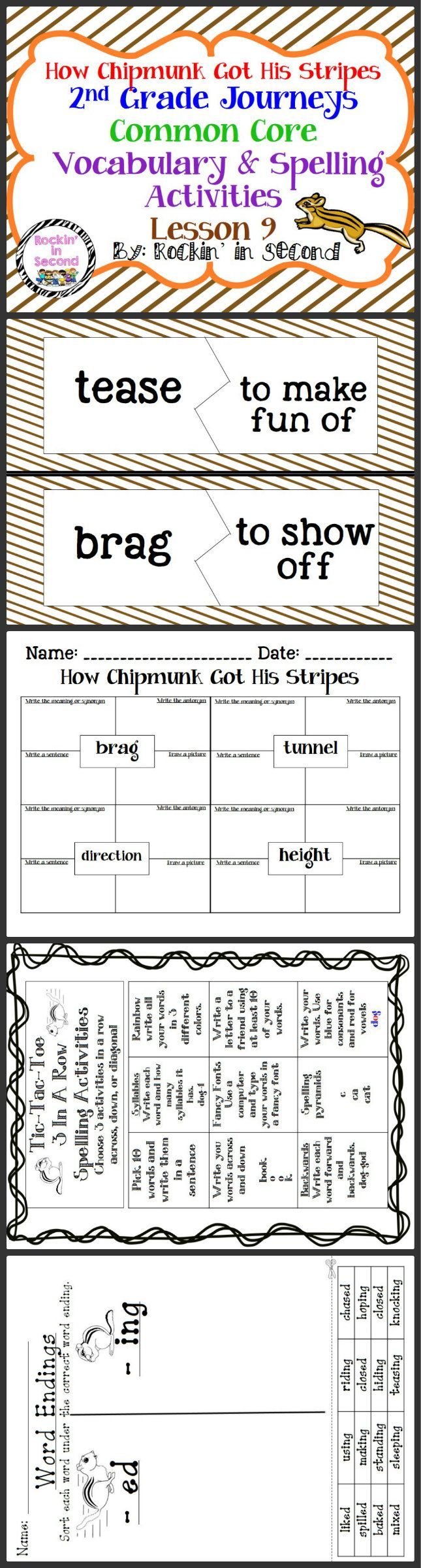 journeys how chipmunk got his stripes lesson 9 spelling vocab activities my tpt stuff. Black Bedroom Furniture Sets. Home Design Ideas
