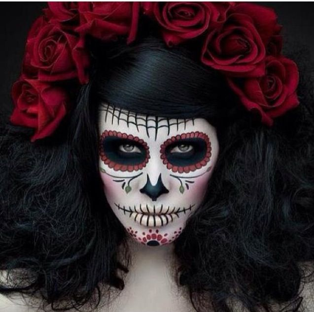 Dia de Los Muertos Makeup  JENN!!!! THIS HAIR AND FLOWERS WITH THE EXTENSIONS!!!!!!