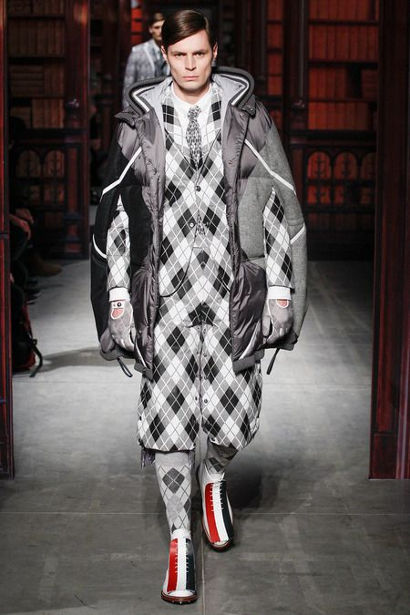 Moncler Gamme Bleu | Fall 2014 Menswear Collection | Style.com  Classical geometry pattern and color