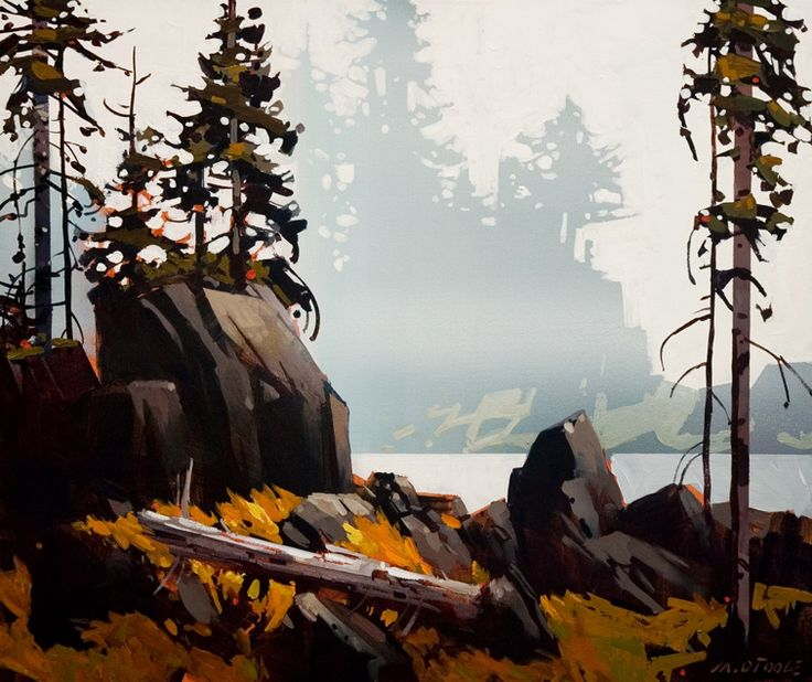 Rivers Inlet by Michael O'Toole (born 1963; Vancouver, British Columbia, Canada); acrylic painting.