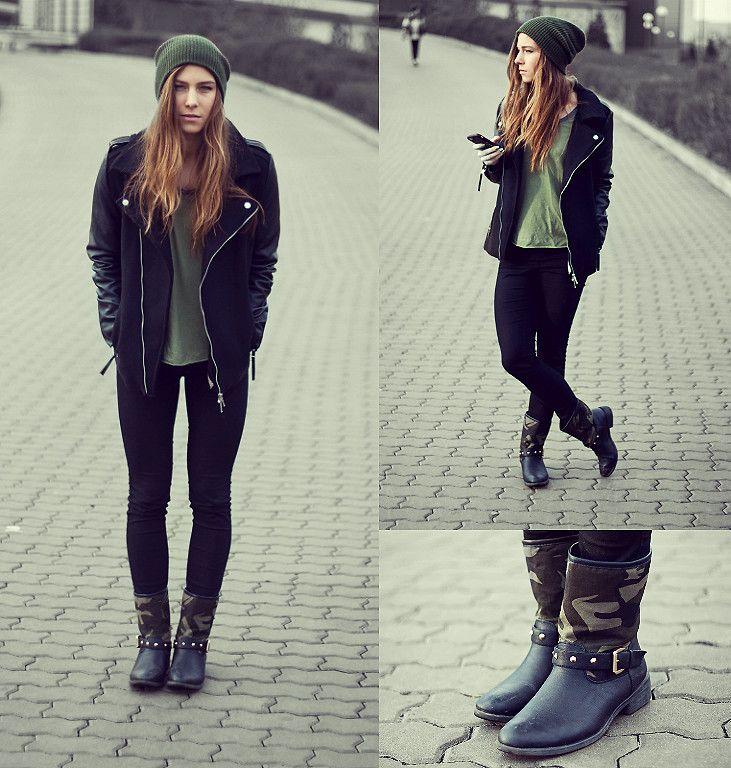 Khaki punk outfit, wearing camouflage boots & leather jacket