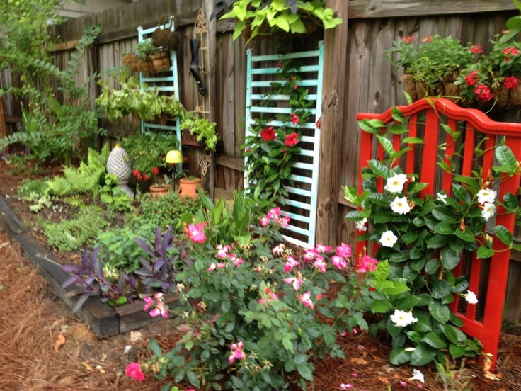Trellises made from an old crib!